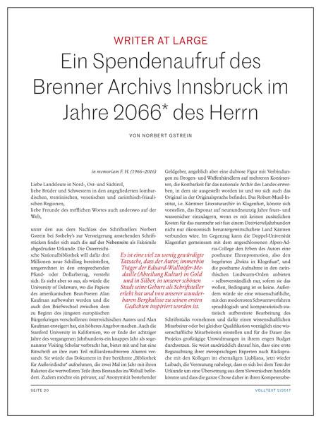 Norbert Gstrein: Spendenaufruf des Brenner Archivs Innsbruck