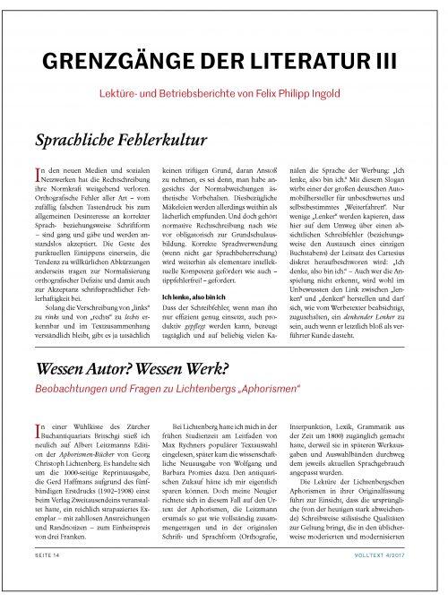 Felix Philipp Ingold: Grenzgänge der Literatur III