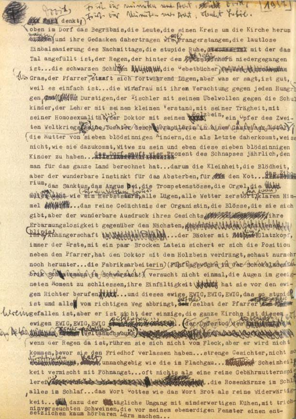 Thomas Bernhard, Schwarzach St.Veit, Typoskript 1957