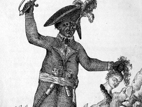 Jean-Jacques Dessalines, erster Kaiser von Haiti (Jacques I.), auf einem zeitgenössischen Stich. Ilustration: Manuel López López Iodibo